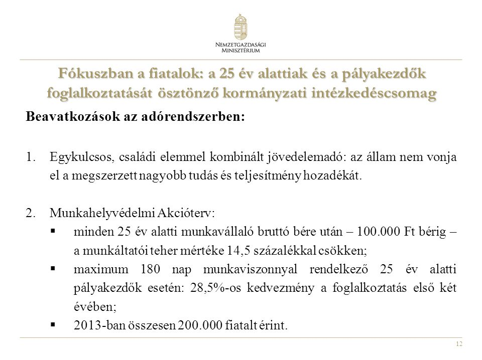 12 Fókuszban a fiatalok: a 25 év alattiak és a pályakezdők foglalkoztatását ösztönző kormányzati intézkedéscsomag Beavatkozások az adórendszerben: 1.E