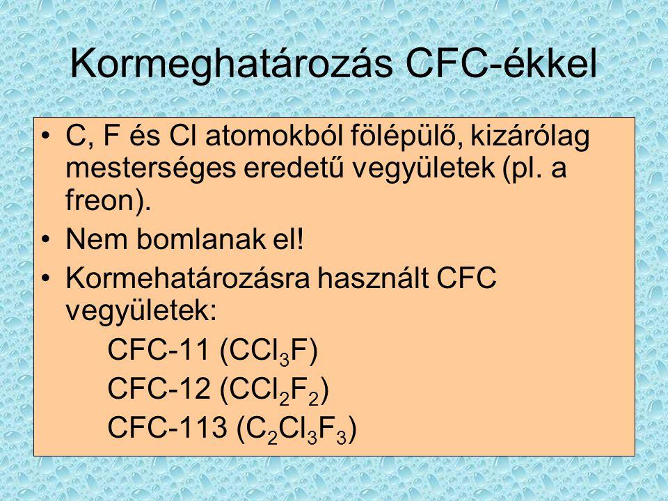 Kormeghatározás CFC-ékkel •C, F és Cl atomokból fölépülő, kizárólag mesterséges eredetű vegyületek (pl. a freon). •Nem bomlanak el! •Kormehatározásra