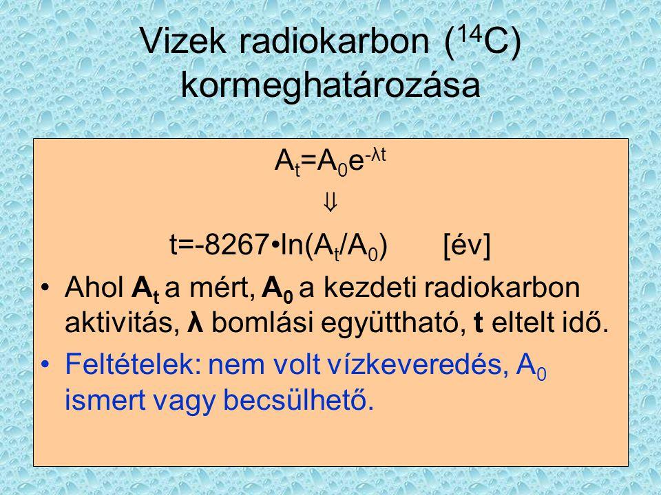 Vizek radiokarbon ( 14 C) kormeghatározása A t =A 0 e -λt ⇓ t=-8267•ln(A t /A 0 ) [év] •Ahol A t a mért, A 0 a kezdeti radiokarbon aktivitás, λ bomlás