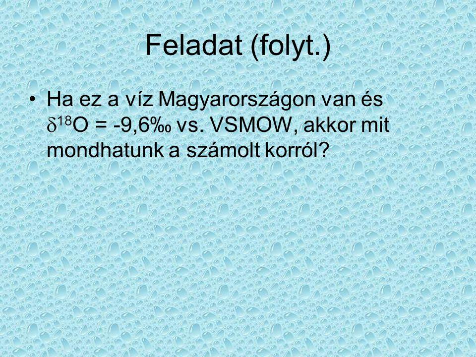 Feladat (folyt.) •Ha ez a víz Magyarországon van és  18 O = -9,6‰ vs. VSMOW, akkor mit mondhatunk a számolt korról?