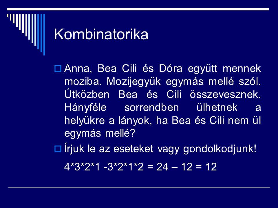 Kombinatorika  Anna, Bea Cili és Dóra együtt mennek moziba. Mozijegyük egymás mellé szól. Útközben Bea és Cili összevesznek. Hányféle sorrendben ülhe