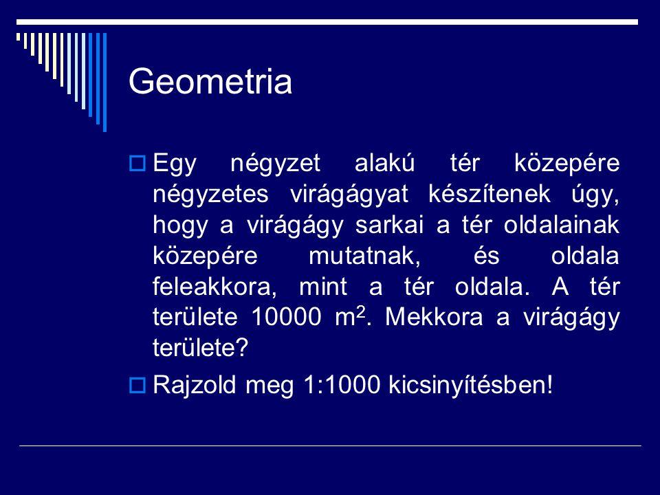 Geometria  Egy négyzet alakú tér közepére négyzetes virágágyat készítenek úgy, hogy a virágágy sarkai a tér oldalainak közepére mutatnak, és oldala f
