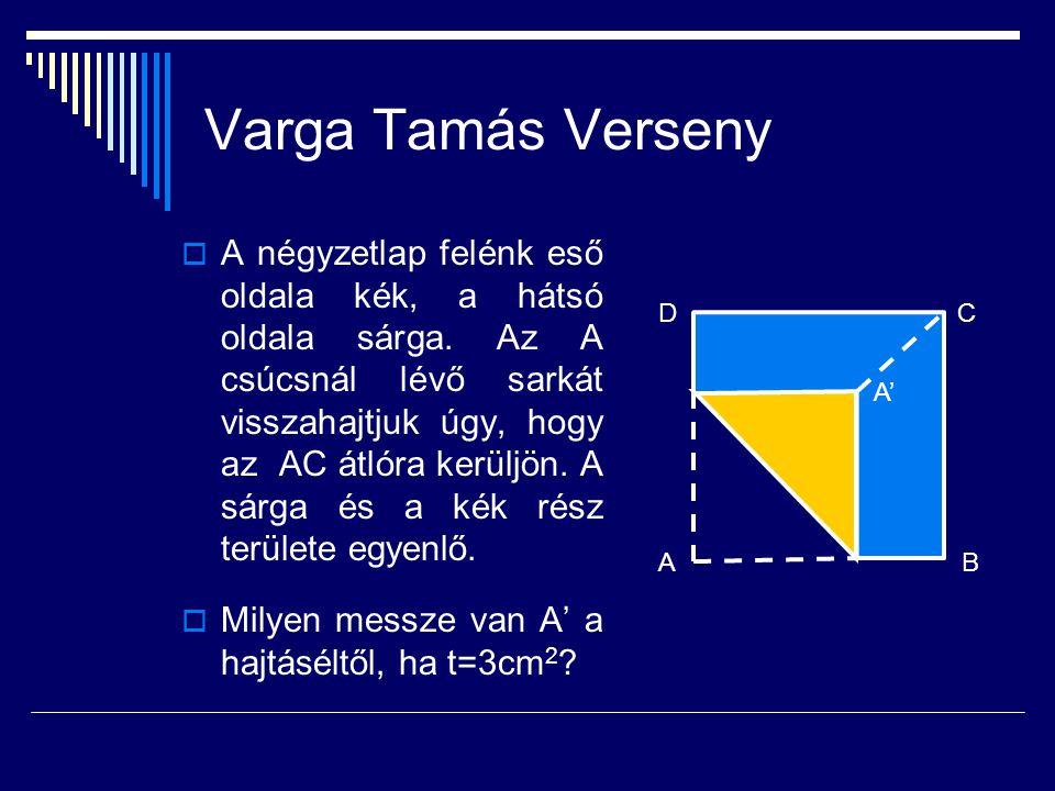 Varga Tamás Verseny  A négyzetlap felénk eső oldala kék, a hátsó oldala sárga. Az A csúcsnál lévő sarkát visszahajtjuk úgy, hogy az AC átlóra kerüljö