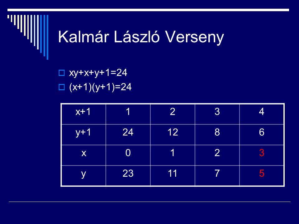 Kalmár László Verseny  xy+x+y+1=24  (x+1)(y+1)=24 x+11234 y+1241286 x0123 y231175