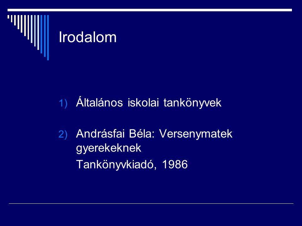 Irodalom 1) Általános iskolai tankönyvek 2) Andrásfai Béla: Versenymatek gyerekeknek Tankönyvkiadó, 1986