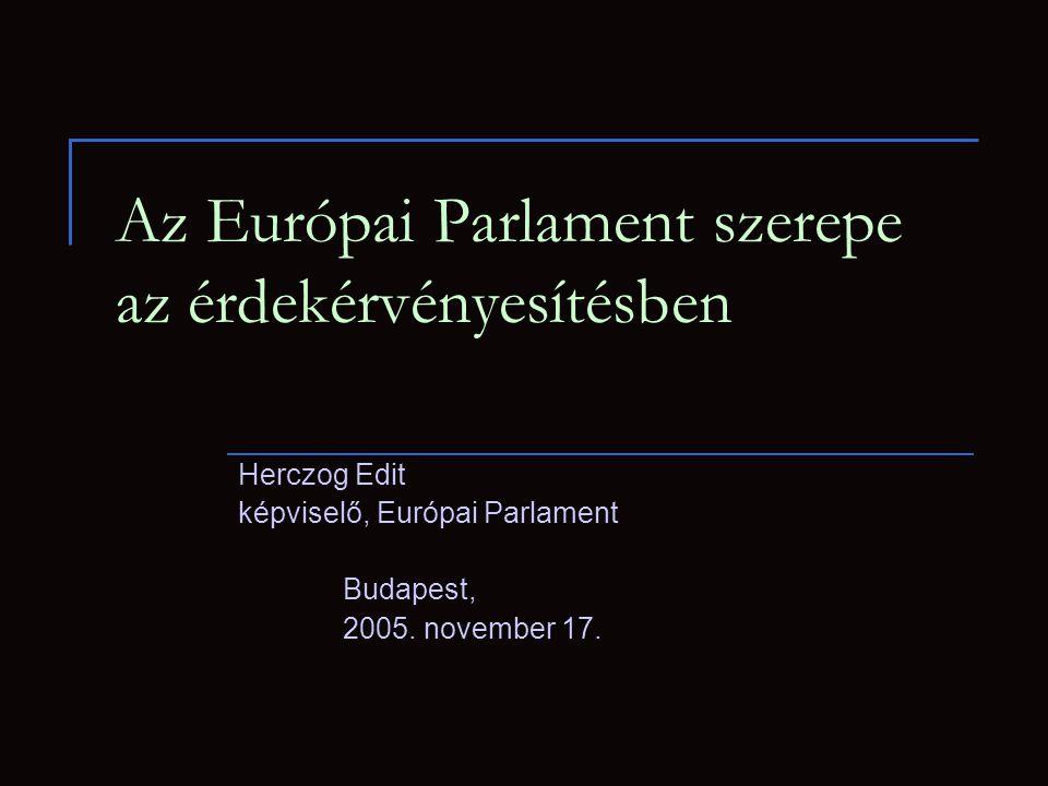Az Európai Parlament szerepe az érdekérvényesítésben Herczog Edit képviselő, Európai Parlament Budapest, 2005.