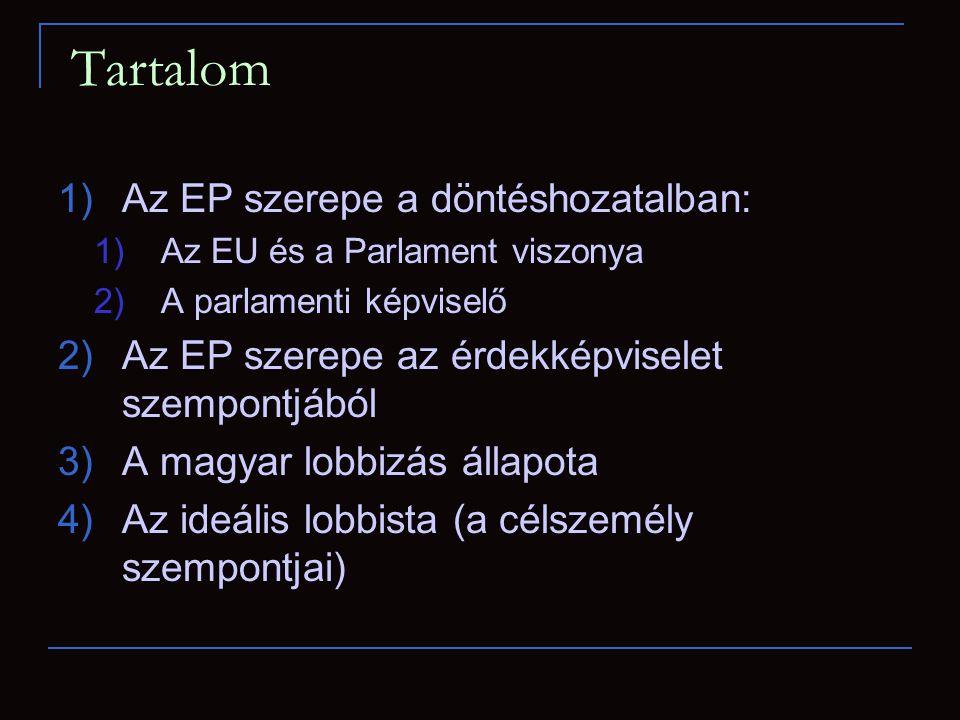 Tartalom 1)Az EP szerepe a döntéshozatalban: 1)Az EU és a Parlament viszonya 2)A parlamenti képviselő 2)Az EP szerepe az érdekképviselet szempontjából 3)A magyar lobbizás állapota 4)Az ideális lobbista (a célszemély szempontjai)