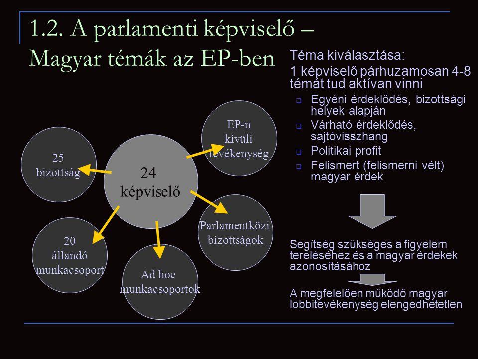 1.2. A parlamenti képviselő – Magyar témák az EP-ben Téma kiválasztása: 1 képviselő párhuzamosan 4-8 témát tud aktívan vinni  Egyéni érdeklődés, bizo
