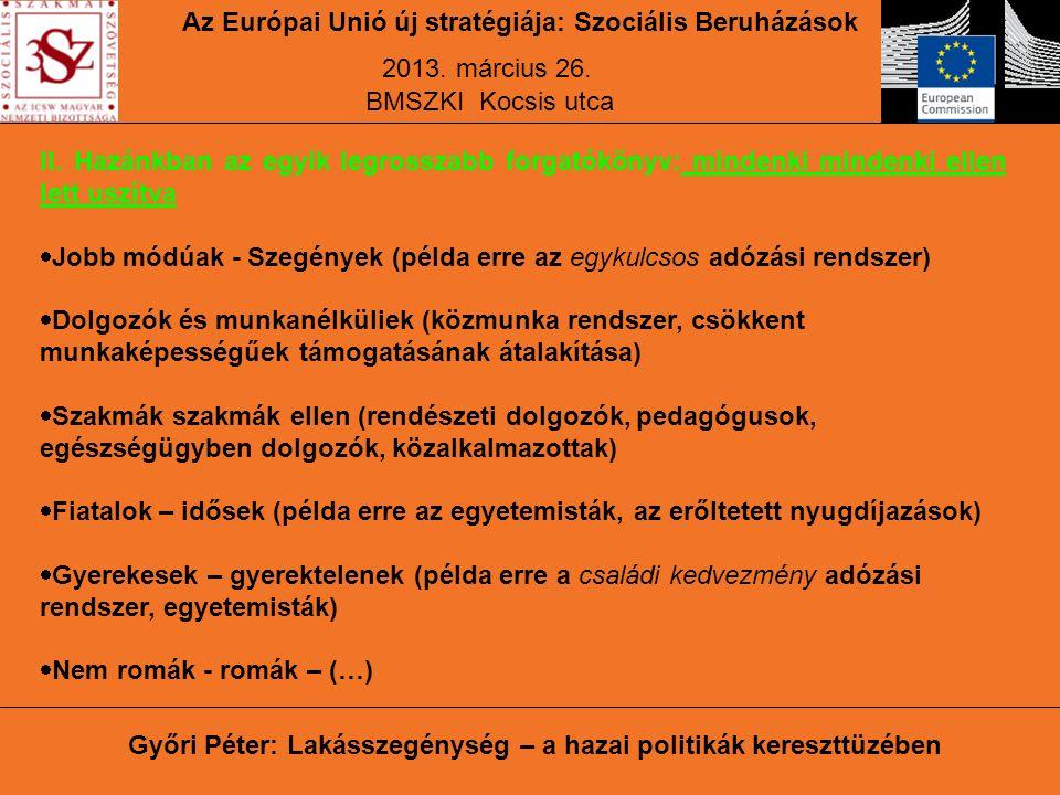 Az Európai Unió új stratégiája: Szociális Beruházások 2013.