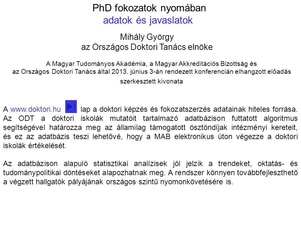 A www.doktori.hu lap a doktori képzés és fokozatszerzés adatainak hiteles forrása. Az ODT a doktori iskolák mutatóit tartalmazó adatbázison futtatott