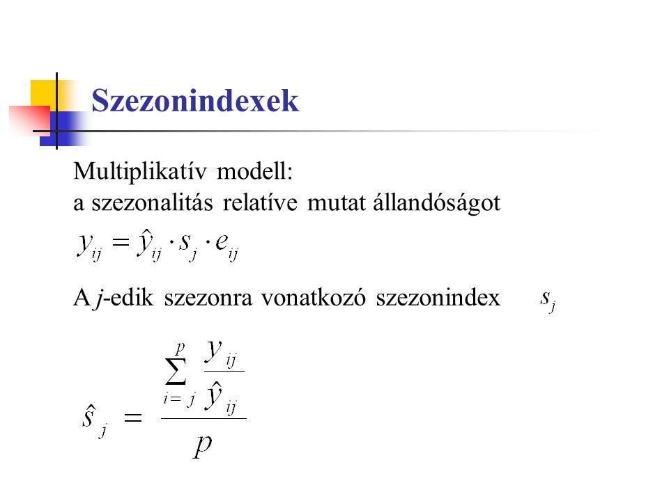 Szezonindexek Multiplikatív modell: a szezonalitás relatíve mutat állandóságot A j-edik szezonra vonatkozó szezonindex