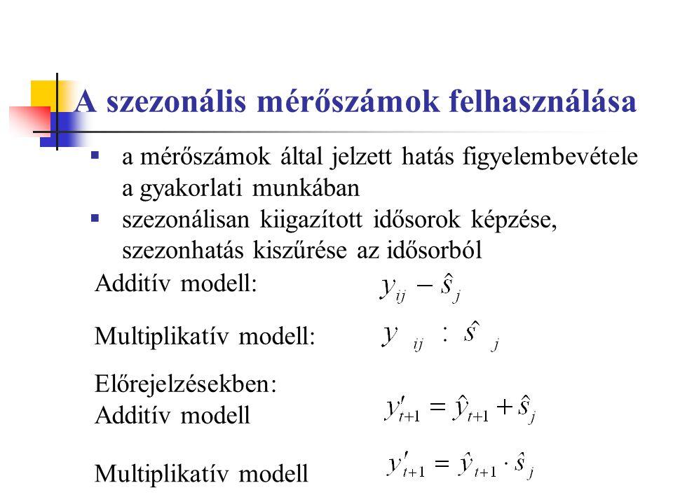 A szezonális mérőszámok felhasználása  a mérőszámok által jelzett hatás figyelembevétele a gyakorlati munkában  szezonálisan kiigazított idősorok képzése, szezonhatás kiszűrése az idősorból Multiplikatív modell: Előrejelzésekben: Additív modell Multiplikatív modell Additív modell: