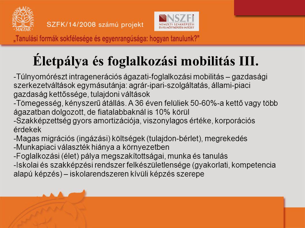 Életpálya és foglalkozási mobilitás III. -Túlnyomórészt intragenerációs ágazati-foglalkozási mobilitás – gazdasági szerkezetváltások egymásutánja: agr