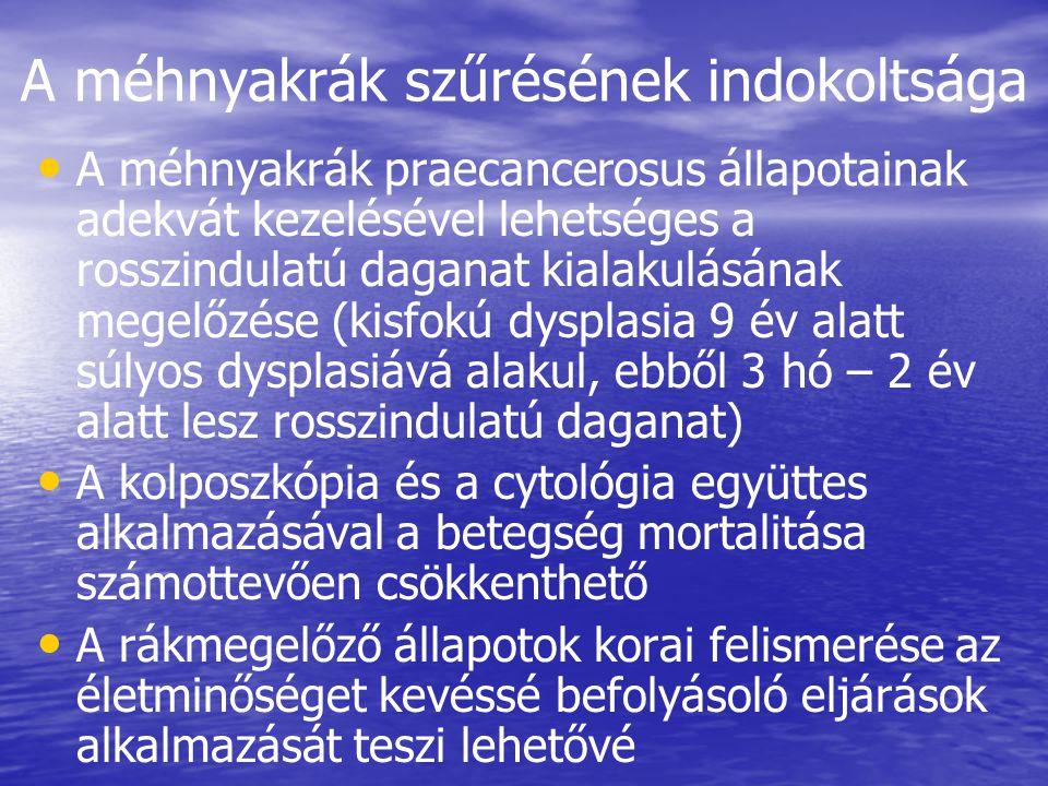 A méhnyakrák szűrésének indokoltsága • • A méhnyakrák praecancerosus állapotainak adekvát kezelésével lehetséges a rosszindulatú daganat kialakulásának megelőzése (kisfokú dysplasia 9 év alatt súlyos dysplasiává alakul, ebből 3 hó – 2 év alatt lesz rosszindulatú daganat) • • A kolposzkópia és a cytológia együttes alkalmazásával a betegség mortalitása számottevően csökkenthető • • A rákmegelőző állapotok korai felismerése az életminőséget kevéssé befolyásoló eljárások alkalmazását teszi lehetővé
