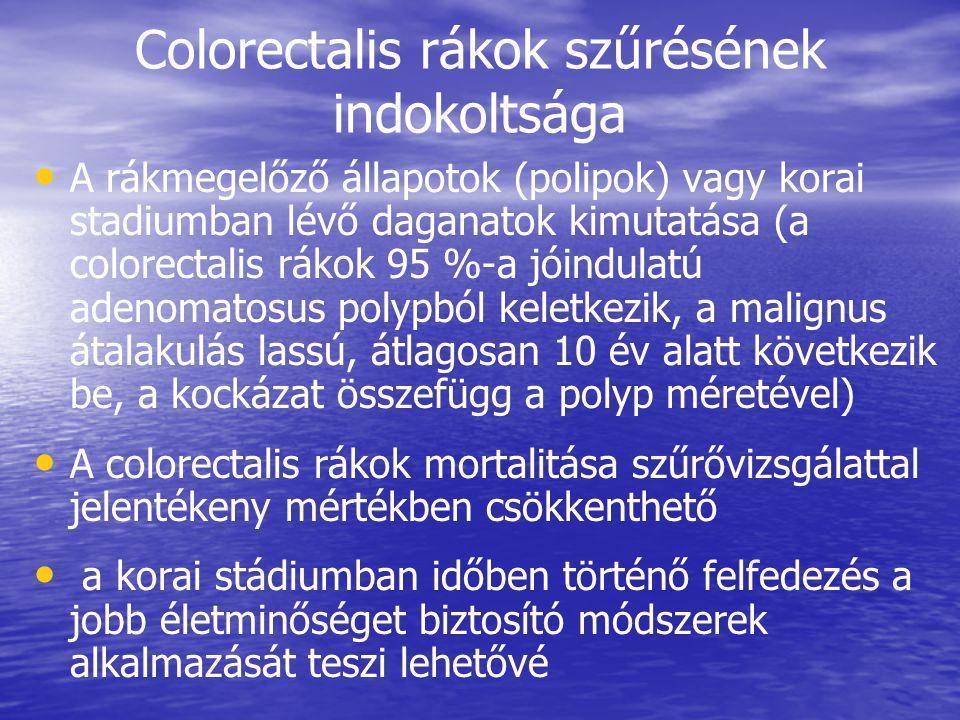 Colorectalis rákok szűrésének indokoltsága • • A rákmegelőző állapotok (polipok) vagy korai stadiumban lévő daganatok kimutatása (a colorectalis rákok 95 %-a jóindulatú adenomatosus polypból keletkezik, a malignus átalakulás lassú, átlagosan 10 év alatt következik be, a kockázat összefügg a polyp méretével) • • A colorectalis rákok mortalitása szűrővizsgálattal jelentékeny mértékben csökkenthető • • a korai stádiumban időben történő felfedezés a jobb életminőséget biztosító módszerek alkalmazását teszi lehetővé