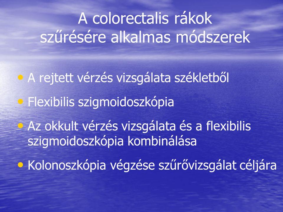 A colorectalis rákok szűrésére alkalmas módszerek • • A rejtett vérzés vizsgálata székletből • • Flexibilis szigmoidoszkópia • • Az okkult vérzés vizsgálata és a flexibilis szigmoidoszkópia kombinálása • • Kolonoszkópia végzése szűrővizsgálat céljára