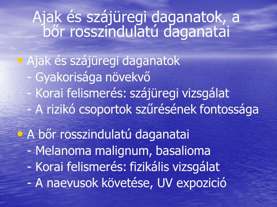 Ajak és szájüregi daganatok, a bőr rosszindulatú daganatai • • Ajak és szájüregi daganatok - Gyakorisága növekvő - Korai felismerés: szájüregi vizsgálat - A rizikó csoportok szűrésének fontossága • • A bőr rosszindulatú daganatai - Melanoma malignum, basalioma - Korai felismerés: fizikális vizsgálat - A naevusok követése, UV expozició