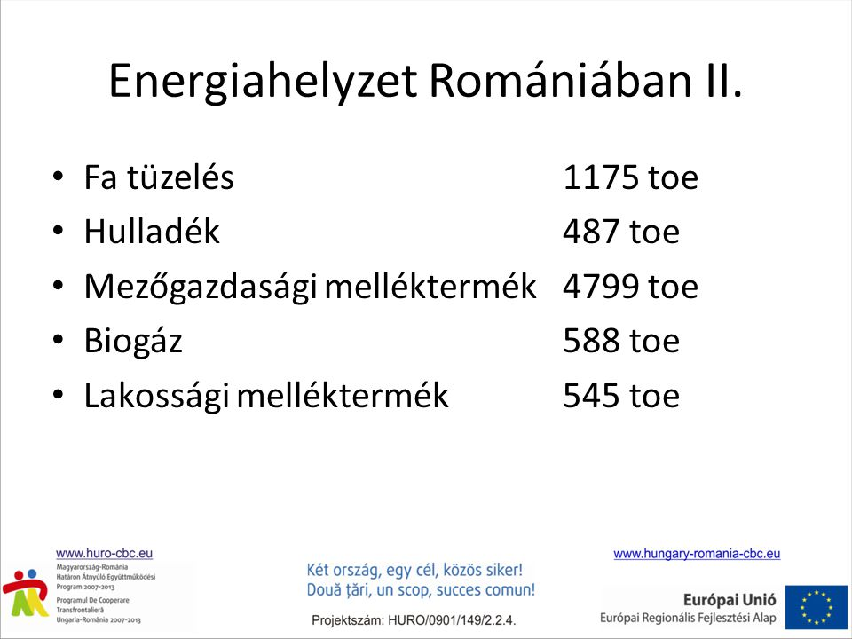 Energiahelyzet Romániában II. • Fa tüzelés 1175 toe • Hulladék 487 toe • Mezőgazdasági melléktermék 4799 toe • Biogáz 588 toe • Lakossági melléktermék