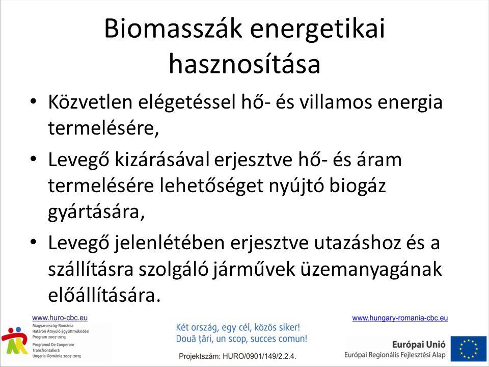 Biomasszák energetikai hasznosítása • Közvetlen elégetéssel hő- és villamos energia termelésére, • Levegő kizárásával erjesztve hő- és áram termelésére lehetőséget nyújtó biogáz gyártására, • Levegő jelenlétében erjesztve utazáshoz és a szállításra szolgáló járművek üzemanyagának előállítására.