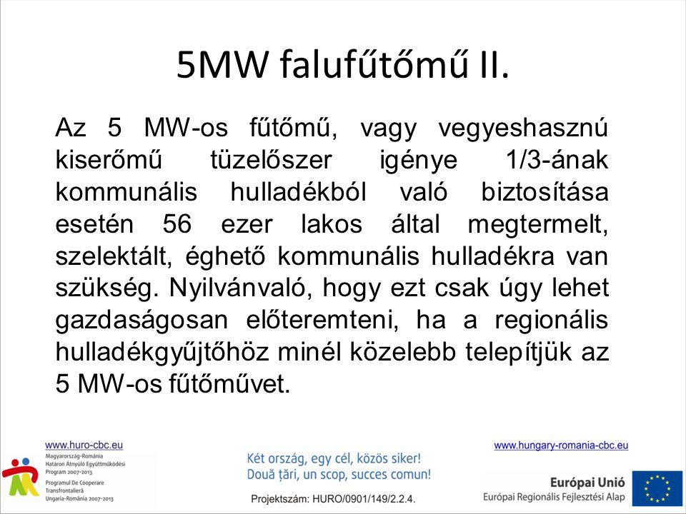 5MW falufűtőmű II. Az 5 MW-os fűtőmű, vagy vegyeshasznú kiserőmű tüzelőszer igénye 1/3-ának kommunális hulladékból való biztosítása esetén 56 ezer lak