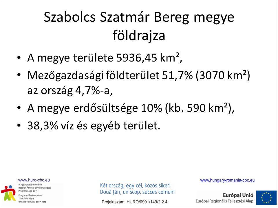 Szabolcs Szatmár Bereg megye földrajza • A megye területe 5936,45 km², • Mezőgazdasági földterület 51,7% (3070 km²) az ország 4,7%-a, • A megye erdősültsége 10% (kb.