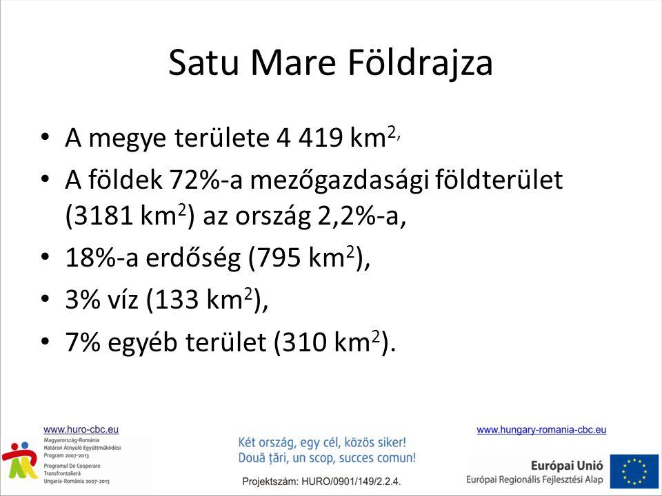 Satu Mare Földrajza • A megye területe 4 419 km 2, • A földek 72%-a mezőgazdasági földterület (3181 km 2 ) az ország 2,2%-a, • 18%-a erdőség (795 km 2