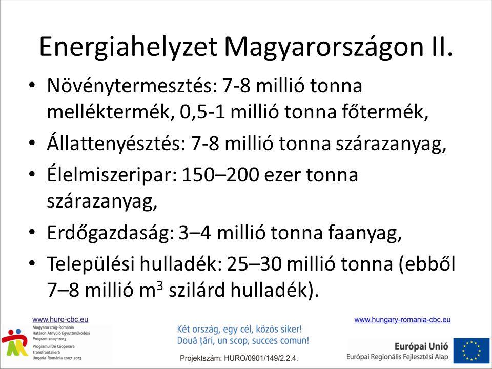 Energiahelyzet Magyarországon II. • Növénytermesztés: 7-8 millió tonna melléktermék, 0,5-1 millió tonna főtermék, • Állattenyésztés: 7-8 millió tonna
