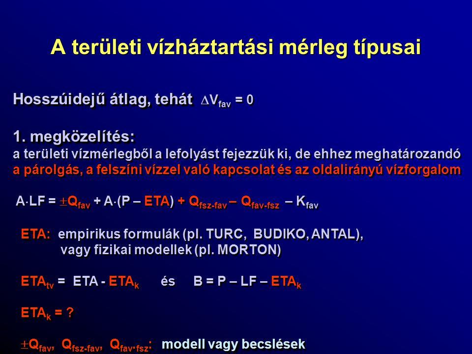 A területi vízháztartási mérleg típusai Hosszúidejű átlag, tehát Hosszúidejű átlag, tehát  V fav = 0 1. megközelítés: a területi vízmérlegből a lefol