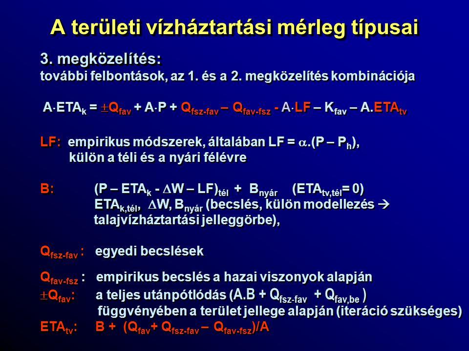A területi vízháztartási mérleg típusai 3. megközelítés: további felbontások, az 1. és a 2. megközelítés kombinációja A  ETA k =  Q fav + A  P + Q