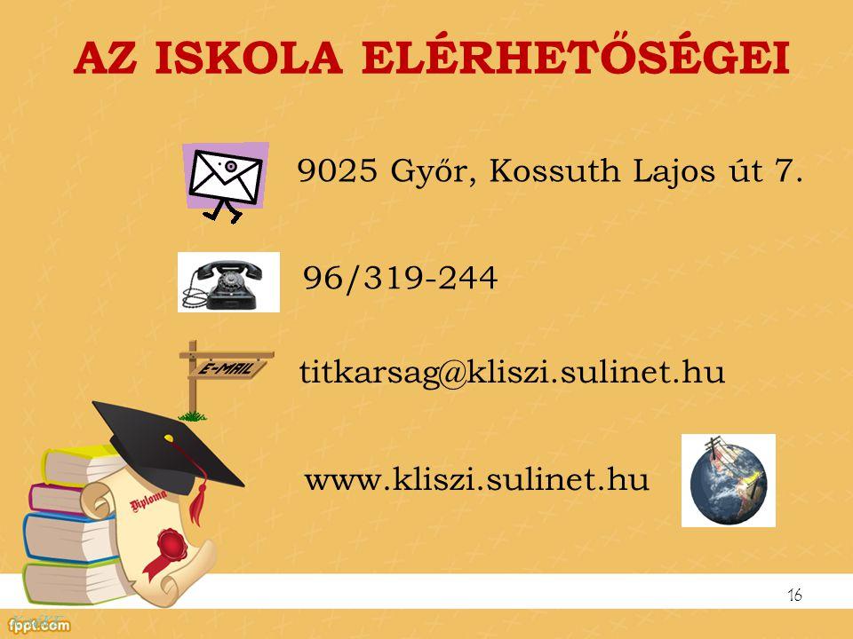 AZ ISKOLA ELÉRHETŐSÉGEI 9025 Győr, Kossuth Lajos út 7. 16 96/319-244 titkarsag@kliszi.sulinet.hu www.kliszi.sulinet.hu KnéKE