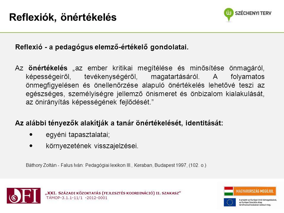 """""""XXI. S ZÁZADI KÖZOKTATÁS ( FEJLESZTÉS KOORDINÁCIÓ ) II. SZAKASZ """" TÁMOP-3.1.1-11/1 -2012-0001 Reflexiók, önértékelés Reflexió - a pedagógus elemző-ér"""
