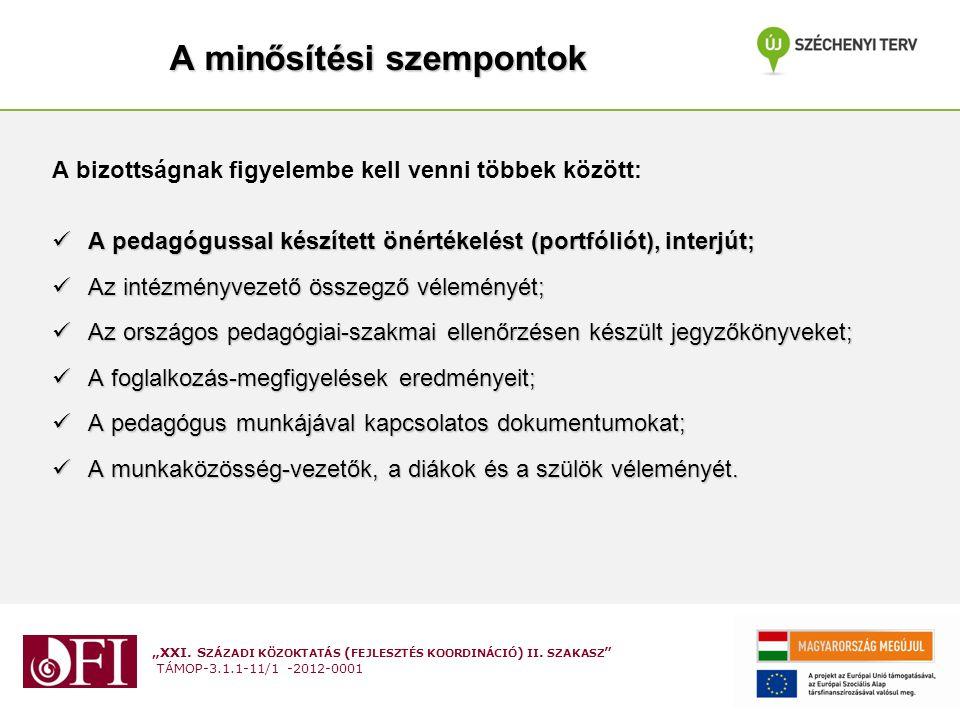 """""""XXI. S ZÁZADI KÖZOKTATÁS ( FEJLESZTÉS KOORDINÁCIÓ ) II. SZAKASZ """" TÁMOP-3.1.1-11/1 -2012-0001 A minősítési szempontok A bizottságnak figyelembe kell"""