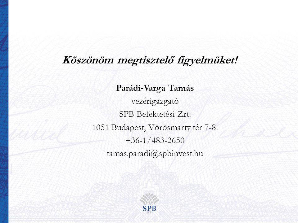 Köszönöm megtisztelő figyelmüket. Parádi-Varga Tamás vezérigazgató SPB Befektetési Zrt.