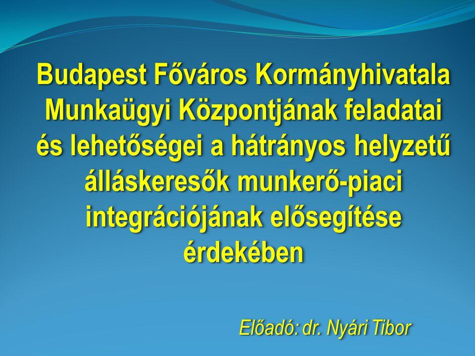 Budapest Főváros Kormányhivatala Munkaügyi Központjának feladatai és lehetőségei a hátrányos helyzetű álláskeresők munkerő-piaci integrációjának előse