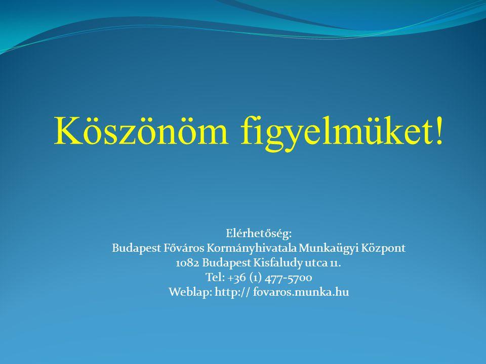 Köszönöm figyelmüket! Elérhetőség: Budapest Főváros Kormányhivatala Munkaügyi Központ 1082 Budapest Kisfaludy utca 11. Tel: +36 (1) 477-5700 Weblap: h