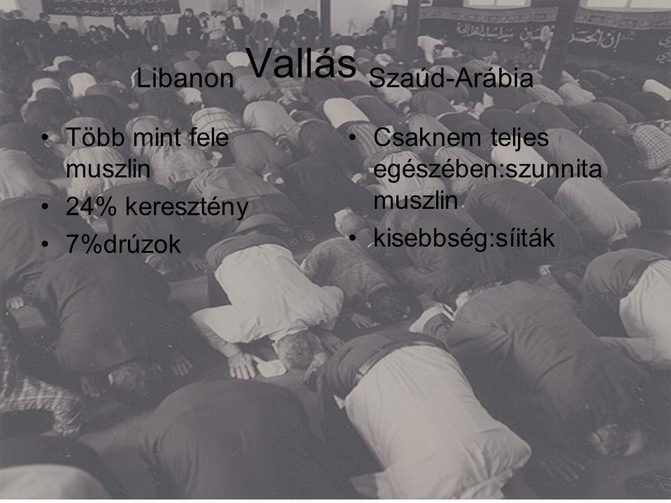 Libanon Vallás Szaúd-Arábia •Több mint fele muszlin •24% keresztény •7%drúzok •Csaknem teljes egészében:szunnita muszlin •kisebbség:síiták