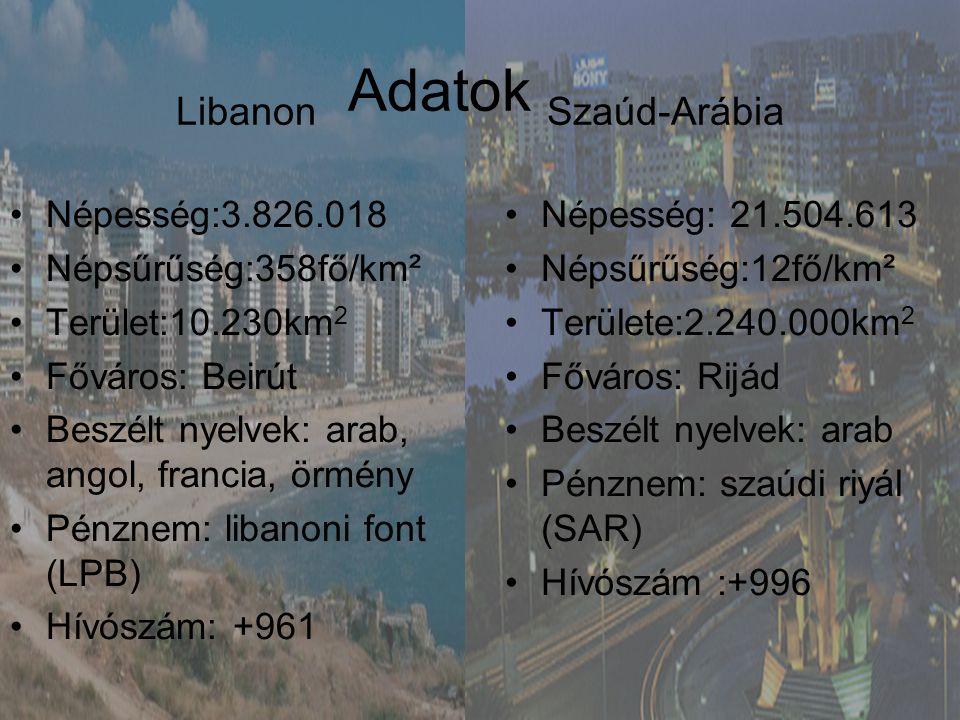 Libanon Adatok Szaúd-Arábia •Népesség:3.826.018 •Népsűrűség:358fő/km² •Terület:10.230km 2 •Főváros: Beirút •Beszélt nyelvek: arab, angol, francia, örm