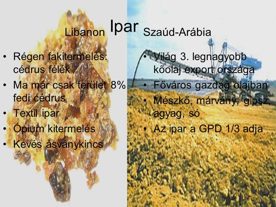 Libanon Ipar Szaúd-Arábia •Régen fakitermelés: cédrus félék •Ma már csak terület 8% fedi cédrus •Textil ipar •Ópium kitermelés •Kevés ásványkincs •Vil