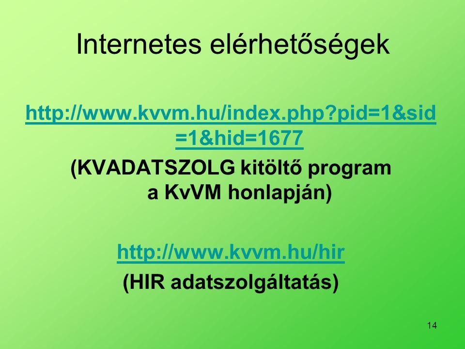14 Internetes elérhetőségek http://www.kvvm.hu/index.php?pid=1&sid =1&hid=1677 (KVADATSZOLG kitöltő program a KvVM honlapján) http://www.kvvm.hu/hir (