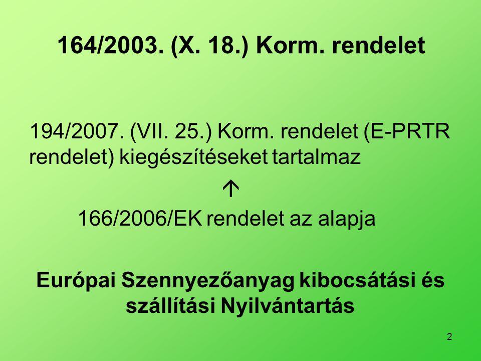 2 164/2003. (X. 18.) Korm. rendelet 194/2007. (VII. 25.) Korm. rendelet (E-PRTR rendelet) kiegészítéseket tartalmaz  166/2006/EK rendelet az alapja E