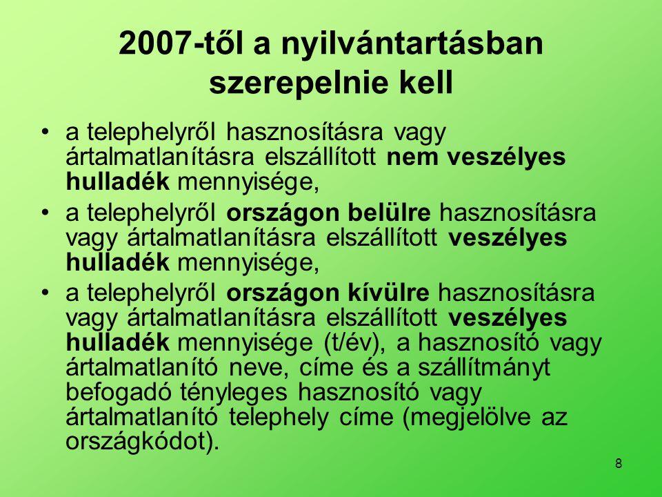 8 2007-től a nyilvántartásban szerepelnie kell •a telephelyről hasznosításra vagy ártalmatlanításra elszállított nem veszélyes hulladék mennyisége, •a