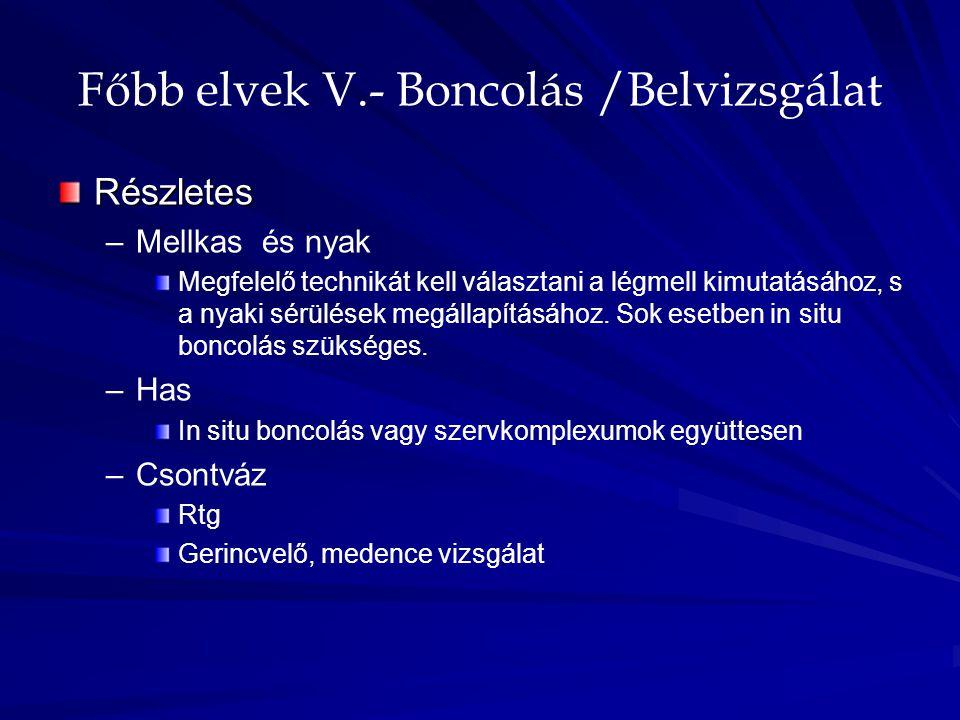 Főbb elvek V.- Boncolás /Belvizsgálat Részletes – –Mellkas és nyak Megfelelő technikát kell választani a légmell kimutatásához, s a nyaki sérülések me