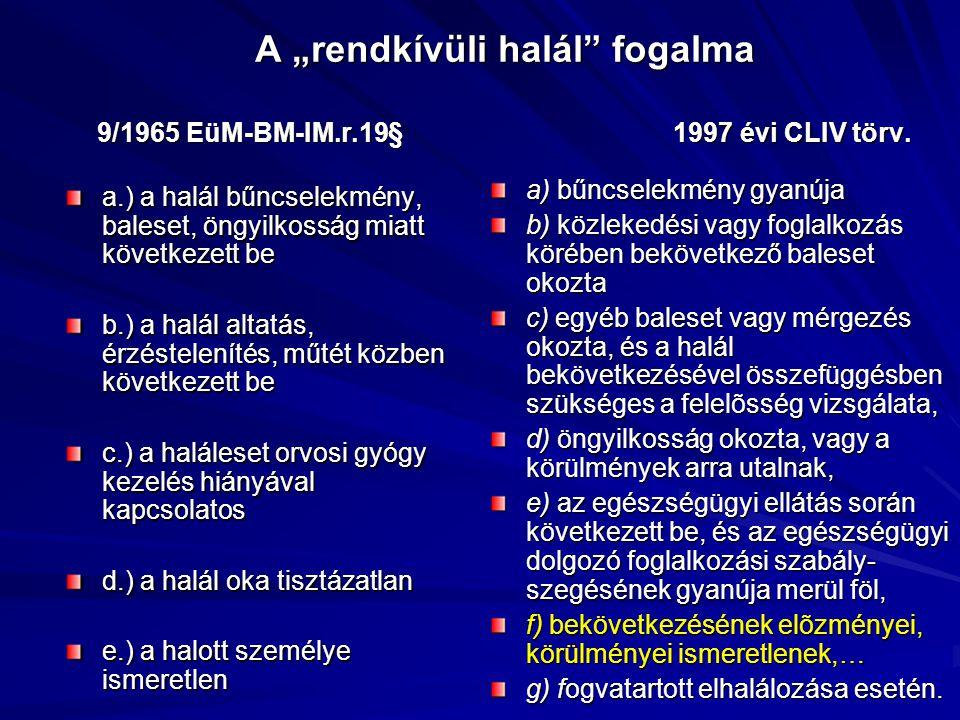 """A """"rendkívüli halál"""" fogalma 9/1965 EüM-BM-IM.r.19§1997 évi CLIV törv. a.) a halál bűncselekmény, baleset, öngyilkosság miatt következett be b.) a hal"""
