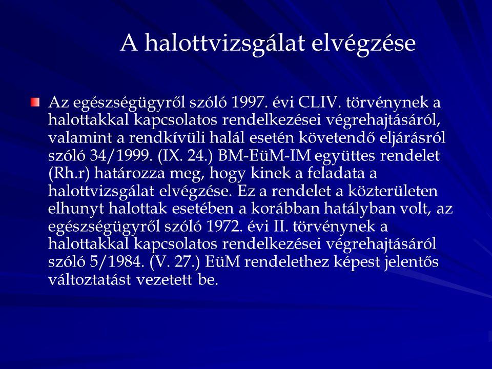 A halottvizsgálat elvégzése Az egészségügyről szóló 1997. évi CLIV. törvénynek a halottakkal kapcsolatos rendelkezései végrehajtásáról, valamint a ren
