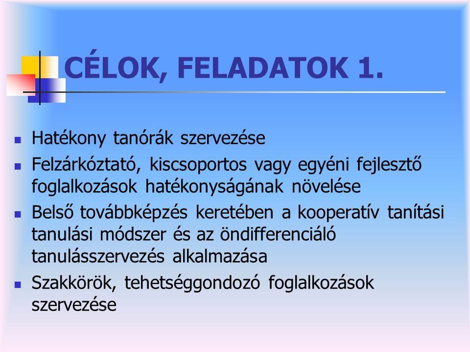 CÉLOK, FELADATOK 1.