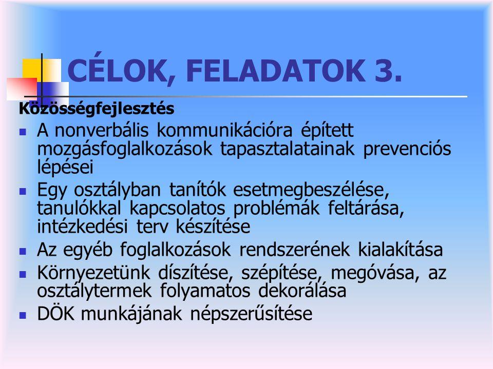 CÉLOK, FELADATOK 3.