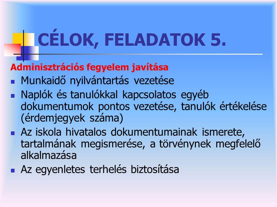 CÉLOK, FELADATOK 5.