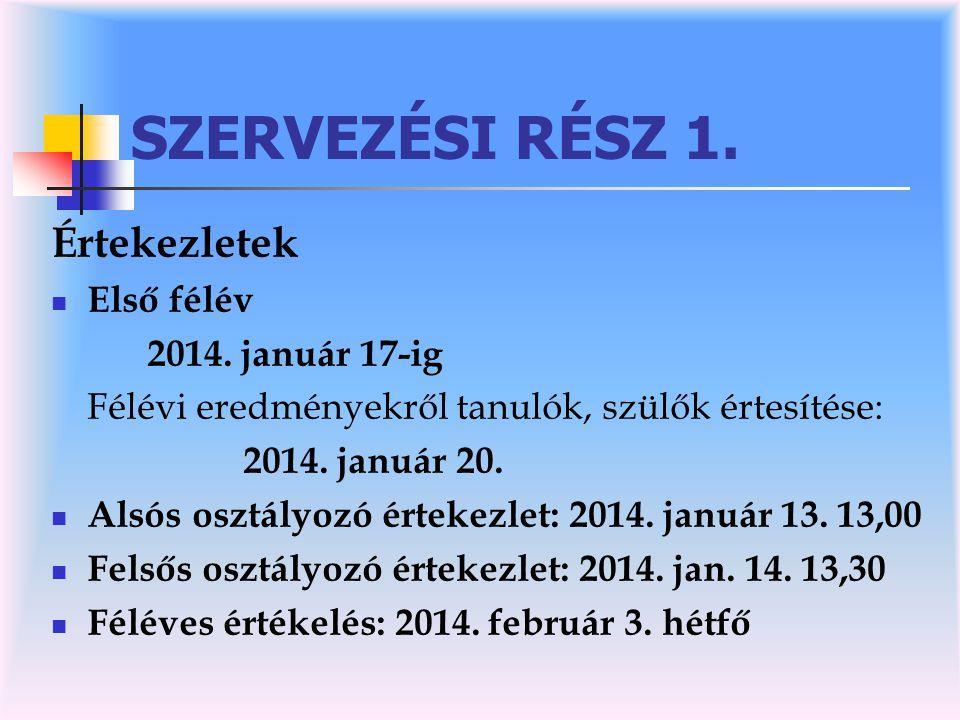 SZERVEZÉSI RÉSZ 1.Értekezletek  Első félév 2014.