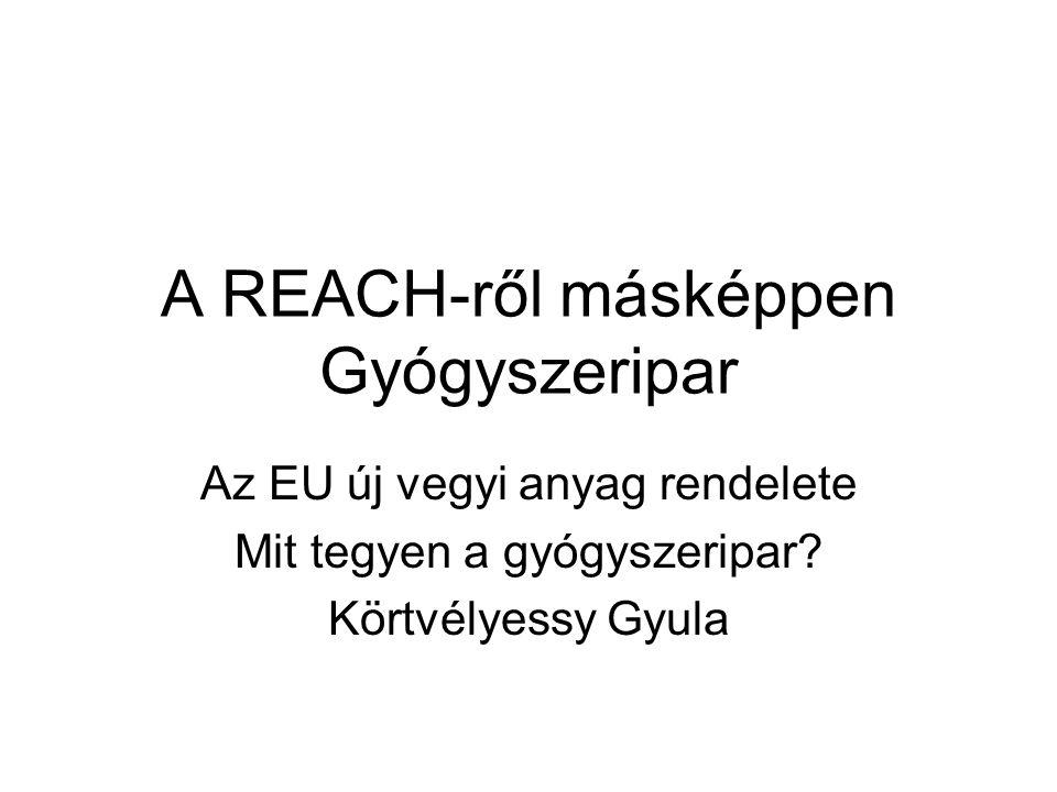 A REACH-ről másképpen Gyógyszeripar Az EU új vegyi anyag rendelete Mit tegyen a gyógyszeripar? Körtvélyessy Gyula