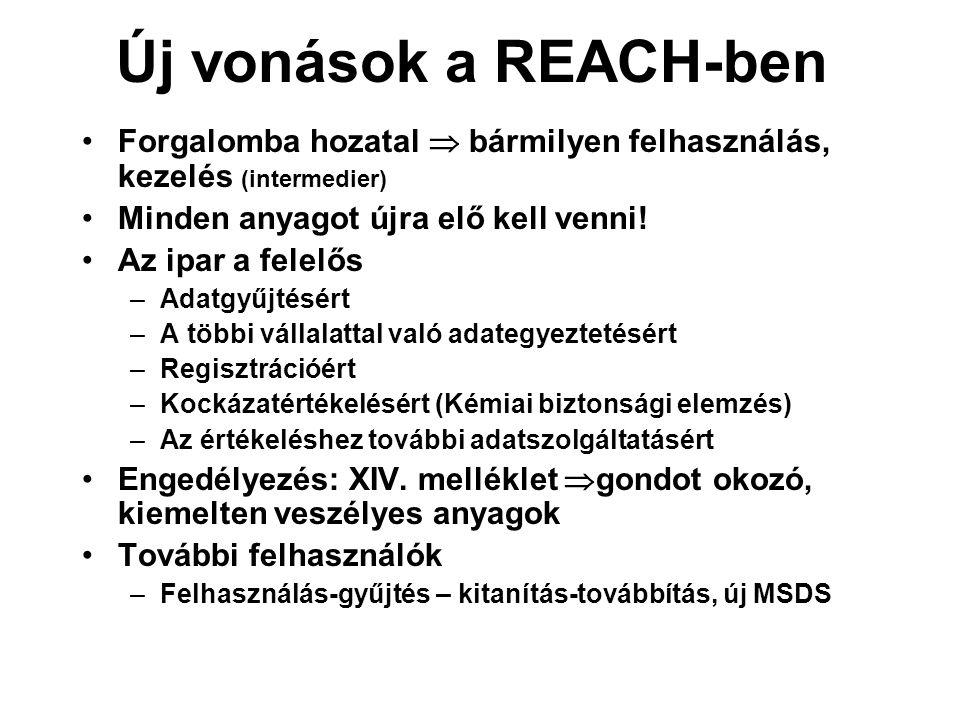 Új vonások a REACH-ben •Forgalomba hozatal  bármilyen felhasználás, kezelés (intermedier) •Minden anyagot újra elő kell venni! •Az ipar a felelős –Ad